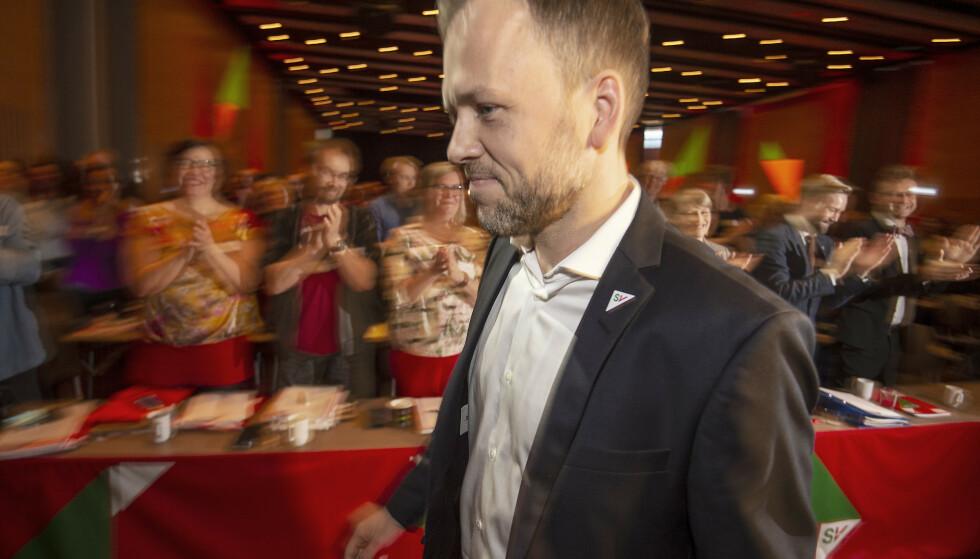 LANDSMØTETALE: Audun Lysbakken er blitt en dreven politisk taler, og en av de beste retorikerne i norsk politikk. Foto: Hans Arne Vedlog / Dagbladet