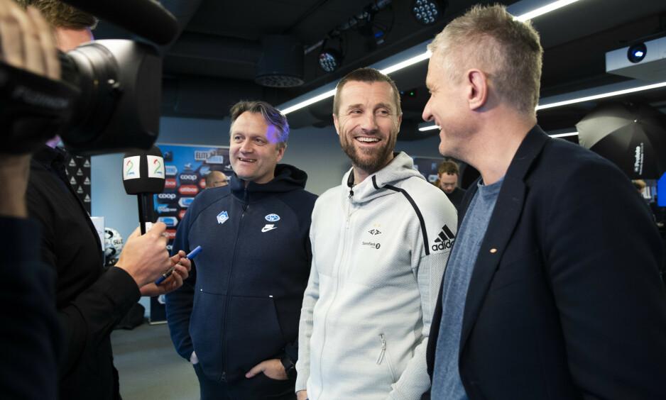 TETT I TOPPEN: Dagbladet har tippet Eliteserien 2019, men blir det (f.v) Erling Moe (Molde), Eirik Horneland (RBK) eller Lars Arne Nilsen (Brann) som leder sitt lag til topps? Foto: Berit Roald / NTB Scanpix