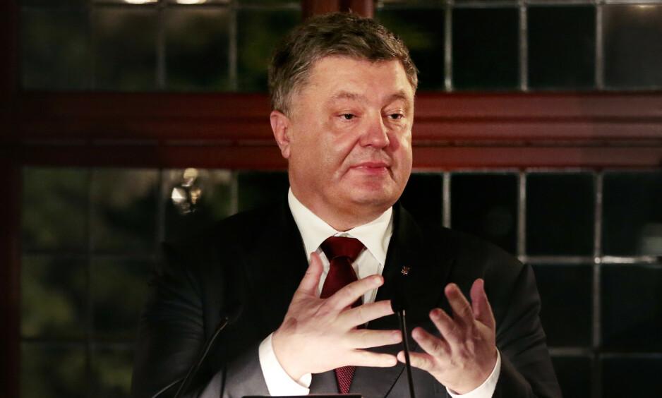 I Norge: Ukrainas president Petro Porosjenko, her under et offisielt besøk til Norge. Foto: Lise Åserud / NTB scanpix