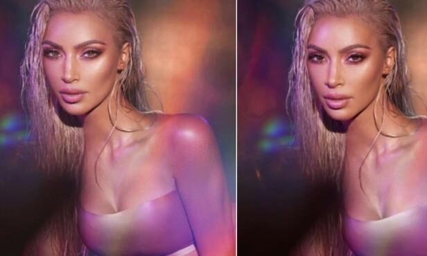 TYDELIG FORSKJELL: Til venstre ser man Kim Kardashians versjon av bildet, og til høyre ser man originalbildet. Foto: NTB scanpix
