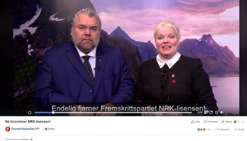SKJERMDUMP: Frps stortingsrepresentanter Morten Wold og Silje Hjemdal stilte opp i video uten å vite hvordan finansieringen ville bli, forklarer Wold. Foto: skjermdump fra partiets nettsider.