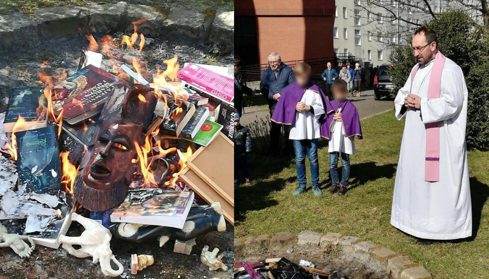 HEKSEKUNST: Presten Jan Kucharachi sier til polske medier at menigheten brente gjenstander med «bånd til magi og det okkulte». Han er for øvrig oppført som eksorsist på bispedømmets offisielle nettside. Foto: Facebook