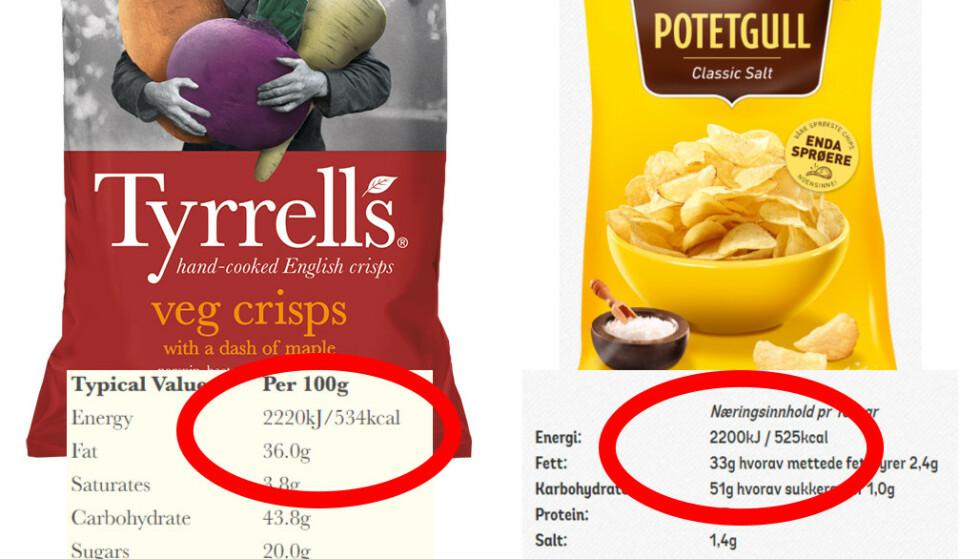 TALLENES TALE: Selv om det enkelt kan slåes fast at de to produktene har like mange kalorier, vil mange kjøpe grønnsakschipsen fordi den ansees som et sunnere alternativ.