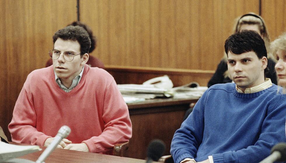 BRØDRE: Da Mendez-brødrene dukket opp på nasjonal tv for å brutalt ha drept foreldrene sine i Beverly Hills, ble historien deres en nasjonal besettelse. Nå kommer sannheten fram i lys om hva som egentlig skjedde da kameraene ble skrudd av. Foto: NTB Scanpix
