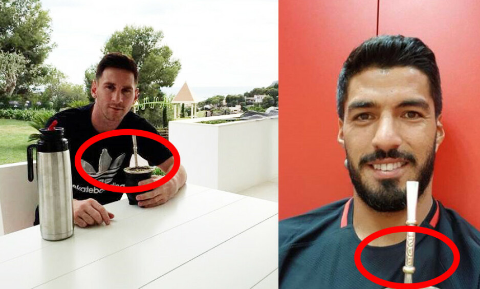 HVER GANG VI MATES: Luis Suarez og Lionel Messi er ivrige drikkere av yerba mate. Foto: Fra spillernes Instagram-kontoer