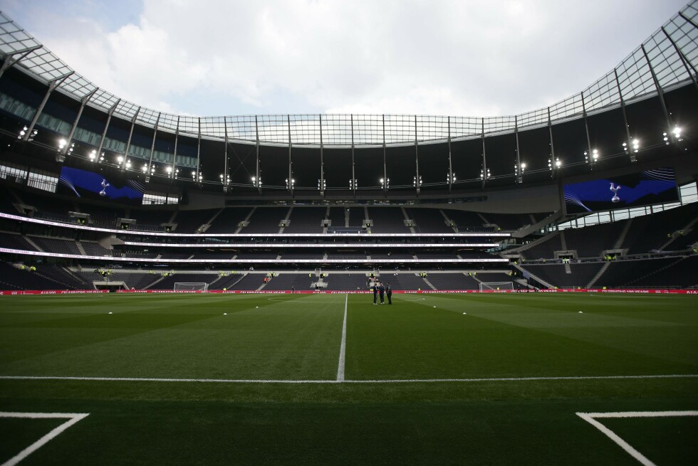 (FILES) In this file photo taken on March 30, 2019 A picture shows a general view of the interior of the new Tottenham Hotspur Stadium ahead of the Legends football match between Spurs Legends and Inter Forever, the second and final test event for the new stadium in London, on March 30, 2019. - Tottenham throw open the doors of their new 62,000-capacity stadium on April 3, 2019, hoping it will give them the financial firepower to compete with the Premier League and European elite. (Photo by Daniel LEAL-OLIVAS / AFP)