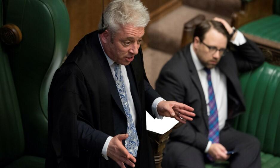 SJOKKTREKK: Onsdag kveld avgjorde speaker i Underhuset, John Bercow, en avstemning med et sjokktrekk. FOTO: NTB Scanpix