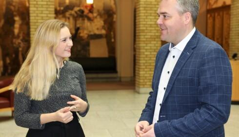 MÅ ENDRES: Høyres Mathilde Tybring-Gjedde og Frps Roy Steffensen mener tilskuddssystemet for barnehagene må endres. Foto: Ole Berg-Rusten / NTB Scanpix