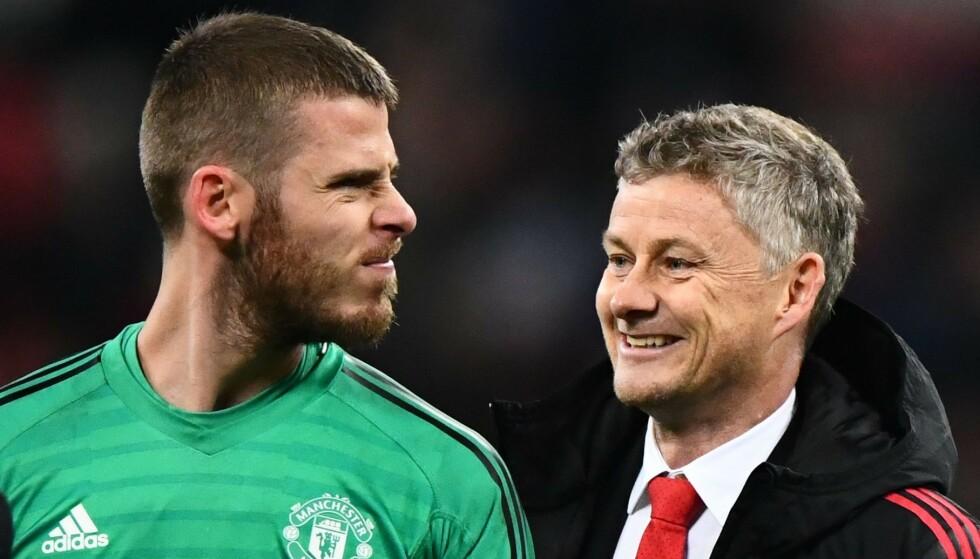 SEKS ÅR TIL: Det gleder trolig Ole Gunnar Solskjær stort at David de Gea har valgt å bli i Manchester United i seks år til. Foto: JAVIER GARCIA/BPI/REX/SHUTTERSTOCK