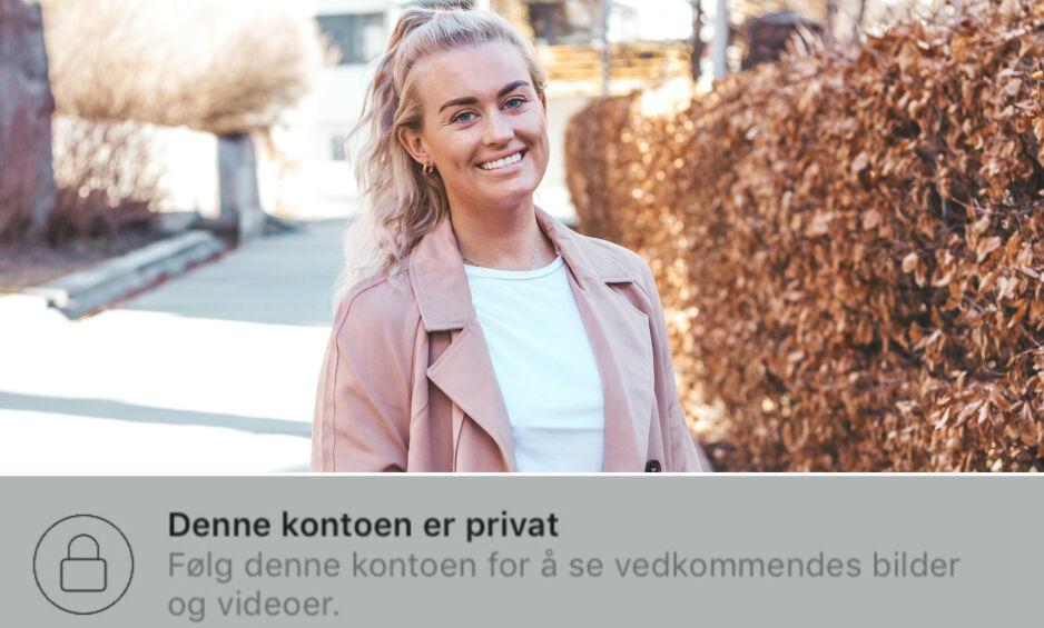PRIVAT: En rekke kjente influensere lukker Instagram-profilen sin, deriblant blogger Andrea Sveinsdottir. Foto: Privat / Skjermdump, Instagram