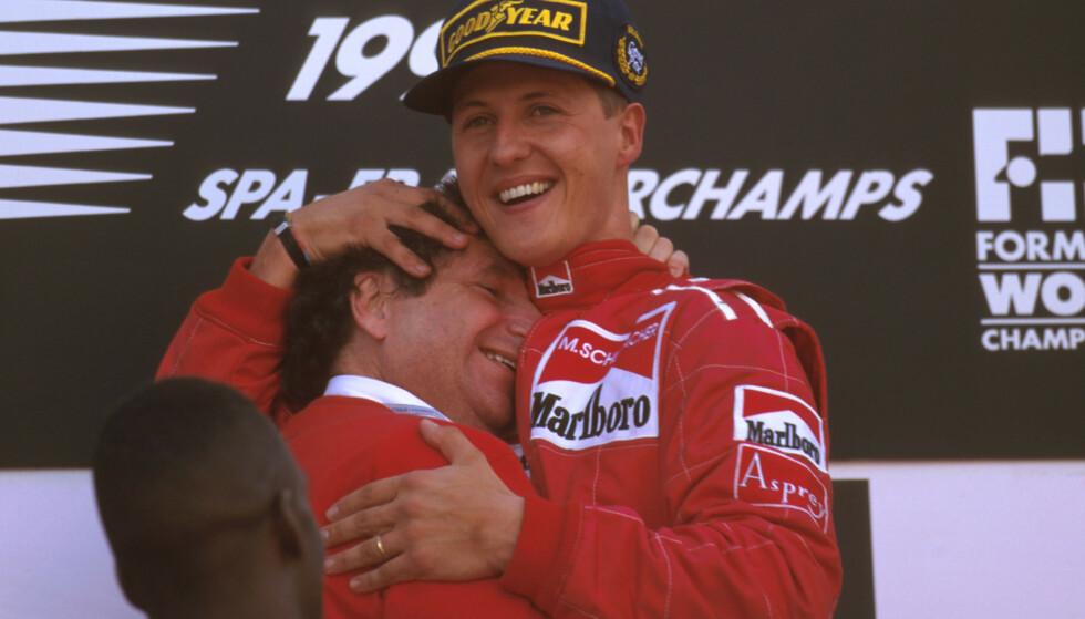 SAMARBEID: I elleve sesonger jobbet teamsjef Jean Todt og Michael Schumacher tett sammen Ferrari. Det førte til fem mesterskapstitler og 72 Grand Prix-seire. Foto: Lat Photographic/REX/NTB scanpix