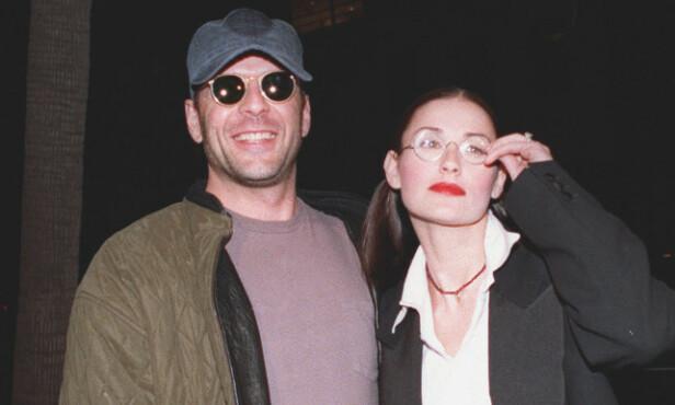 DEN GANG DA: Bruce Willis og Demi Moore var gift fra 1987 til 2000. Sammen fikk de døtrene Rumer, Scout og Tallulah Willis. Her er paret avbildet sammen i 1993. Foto: NTB Scanpix