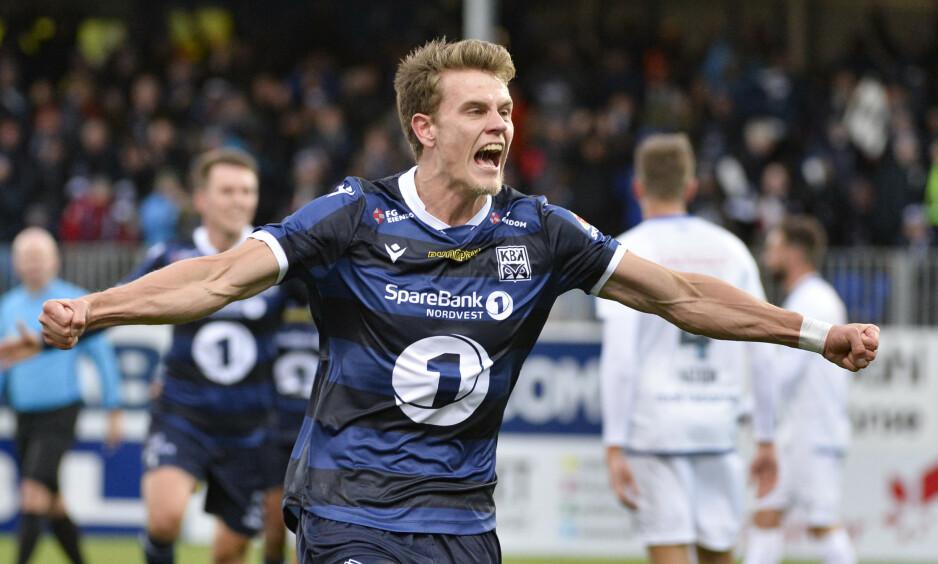SLO TILBAKE: Kristiansund slo tilbake etter tapet mot Viking i seriepremieren. Kristoffer Hoven scoret 2-0-målet. Foto: Ned Alley / NTB scanpix