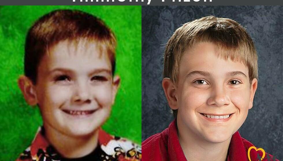 ETTERLYST: Denne etterlysningen har til høyre en simulering av hvordan Timmothy trolig ser ut nå, dersom han lever. Foto: National Center for Missing & Exploited Children / Reuters / NTB Scanpix