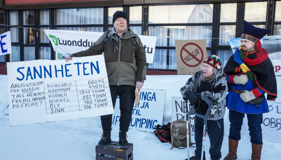 OMSTRIDT: En rekke aksjonister har protestert mot kobbergruva og fjorddeponiet. Foto: Ole Berg-Rusten / NTB Scanpix