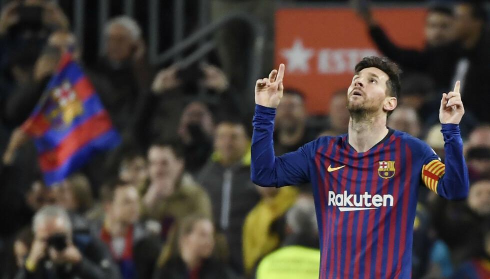 GODE FRISPARK-TALL: Lionel Messi har scoret flere mål på frispark denne sesongen. Foto: LLUIS GENE / AFP/NTB Scanpix