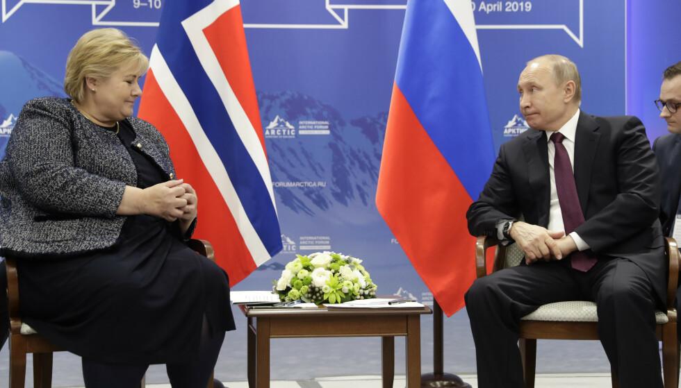 NÆRT NOK?: Statsminister Erna Solberg møtte Russlands president Vladimir Putin i St. Petersburg mandag. Foto: NTN Scanpix