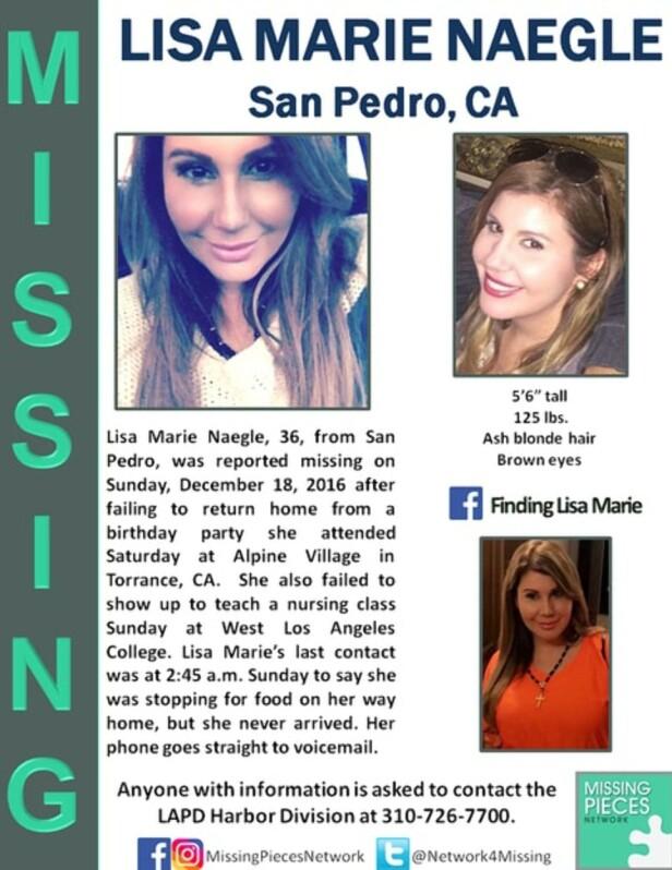 MELDT SAVNET: Da Lisa Marie Naegle fra San Pedro ikke kom hjem til avtalt tid, meldte familie og ektemann henne savnet. Foto: Missing Pieces Network