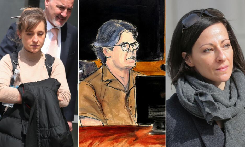 SEX-KULT: Allison Mack, Keith Raniere og Lauren Salzman er alle tiltalt for menneskehandel og misbruk av flere kvinner i sex-kulten DOS, en undergruppe av organisasjonen NXIVM. Foto: NTB Scanpix
