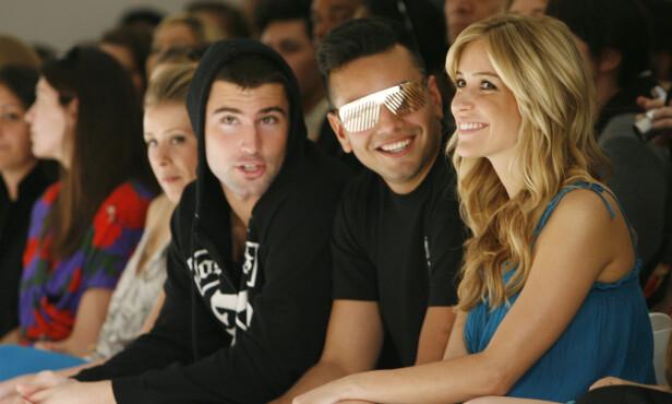 STØTTE: Kristin sammen med Frankie Delgado og Brody Jenner under Lauren Conrads moteshow i 2008. Foto: NTB Scanpix