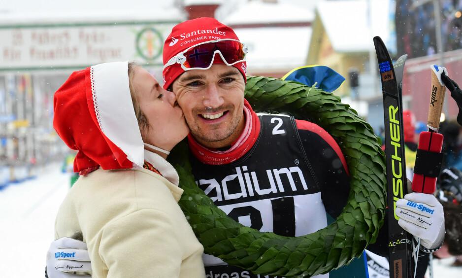 NY BRAGD: Andreas Nygaard vant Ski Classics sammenlagt. Her er han etter seieren i Vasaloppet i 2018. Foto: Ulf Palm/ TT / NTB scanpix