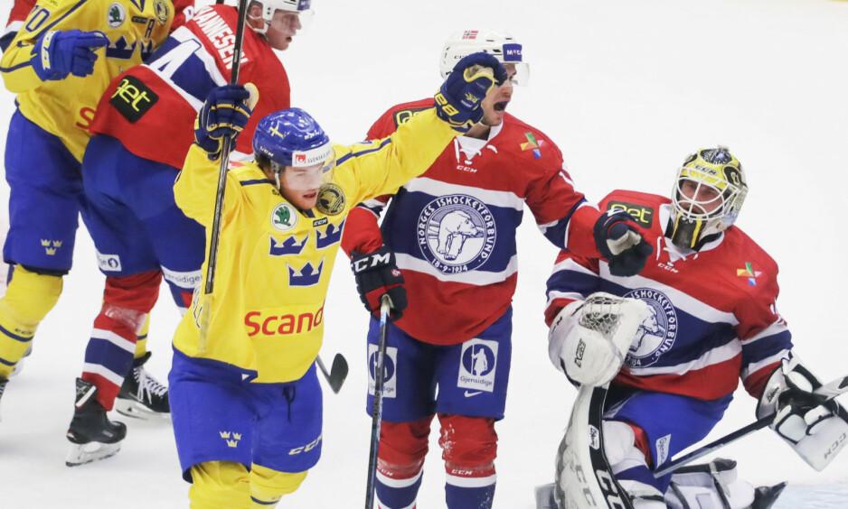 NYTT TAP: Norge gikk på sitt andre tap på tre dager mot Sverige da Tre Kronor vant 5-1 lørdag. Foto: Mats Andersson/TT / NTB scanpix