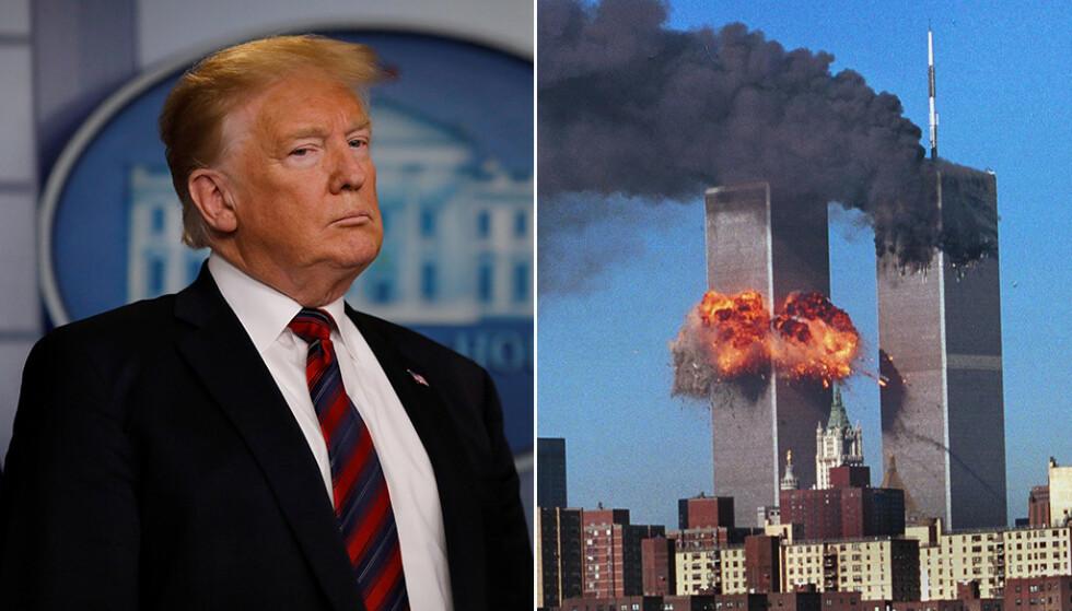 REFSES: USAs president Donald Trump refses av politiske motstandere, etter at han angrep Kongressrepresentanten Ilhan Omar på Twitter på fredag med en video hvor han blant annet brukte bilder av terrorangrepene 11. september 2001. Foto: Carlos Barria (Reuters) / Tamara Beckwith (REX)