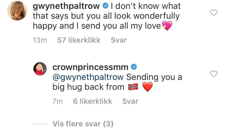 KOS: Gwyneth og Mette-Marit har en hyggelig tone i kommentarfeltet under kronprinsessens bilde. Foto: Skjermdump