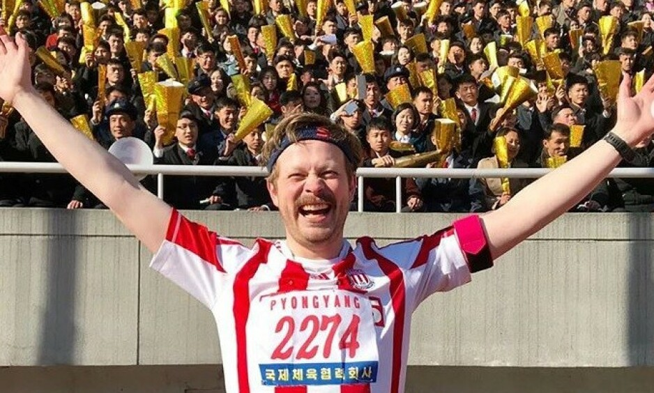 STORFORNØYD: Einar Tørnquist har nylig fullført halvmaraton i Nord-Korea. Til Dagbladet forteller han om løpet. Foto: Privat
