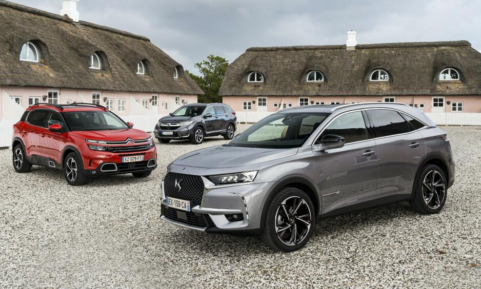 NYE SUV: De tre nye SUVene DS 7 Crossback, Citroën C5 Aircross og Honda CR-V i stortest.Alle foto: Jamieson Pothecary