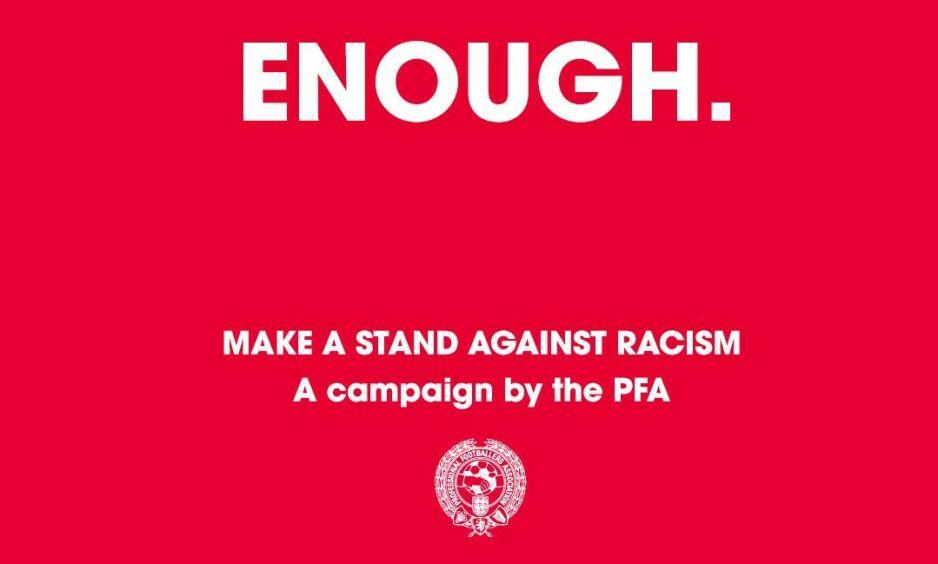 KLAR TALE: Dette er budskapet i en ny kampanje som en lang rekke fotballspillere stiller seg bak. Foto: PFA / Twitter