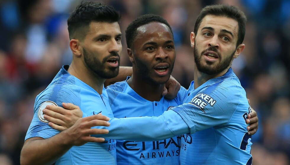 NOMINERT: Manchester City er representert med tre spillere: Sergio Aguero, Raheem Sterling og Bernardo Silva. Foto: NTB scanpix