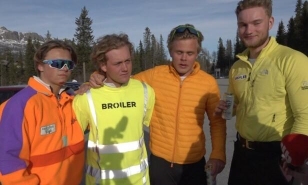 SKI: Guttegjengen Petter Oppegård, Vetle Nicolaysen, Ole Christian Kruse og Henrik Bjercke synes det også er viktig å stå litt på ski mellom slagene. Foto: Madeleine Liereng / Dagbladet