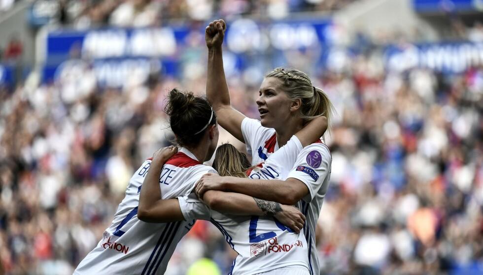 JUBEL: Ada Hegerberg og Lyon slo Chelsea. Foto: NTB scanpix