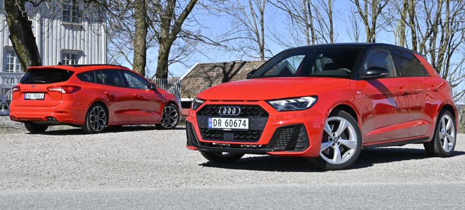LIKE DYRE: Kompakte Audi A1 koster det samme som romslige Ford Focus. Vår Focus kostet 399 000 og testet A1 koster 442.000. Foto: Jamieson Pothecary