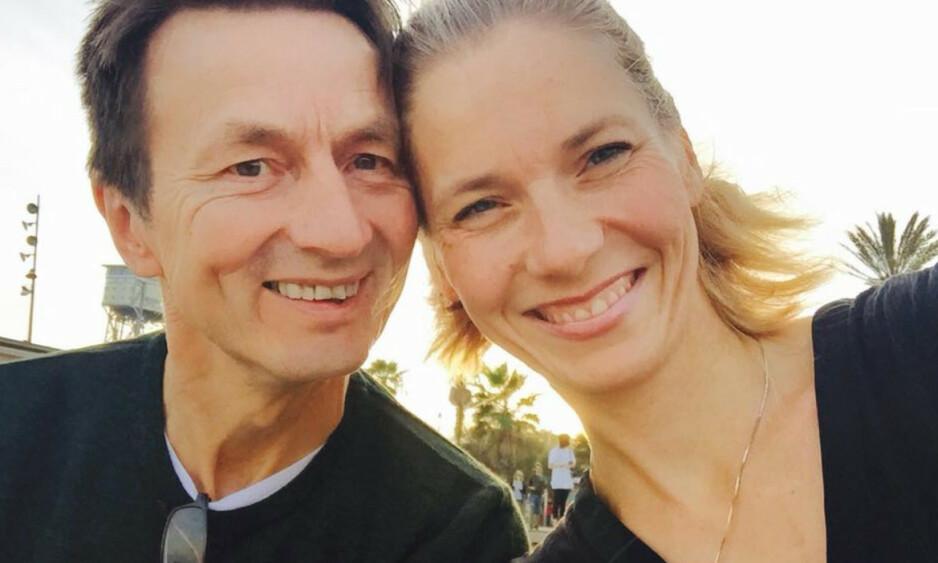 VAR MANN OG KONE: Nitimen-programleder Karen Marie Berg mistet sin høyt elskede ektemann, Hans Kristian Amundsen, i juli i fjor. Lørdag var hun tilbake på jobb. Foto: Privat