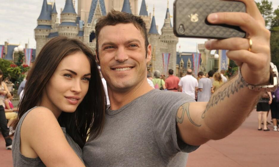 HOLDER SAMMEN: Hollywood-paret Megan Fox og Brian Austin Green fortsetter ekteskapet sitt. Her er de avbildet i 2011. Foto: Hoo-Me/REX/ NTB scanpix
