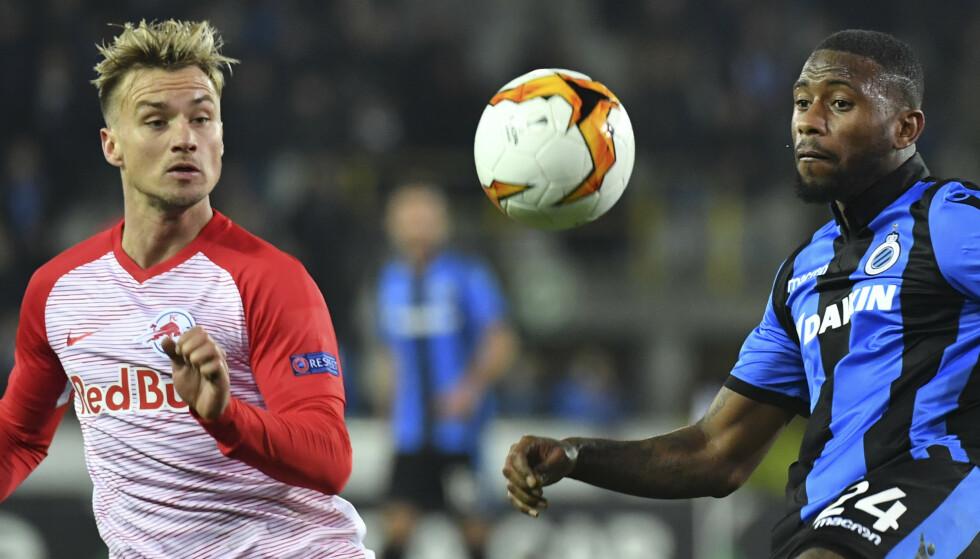 SERIEMESTER: Fredrik Gulbrandsen ble søndag seriemester i Østerrike med sin klubb Salzburg. Foto: AP Photo/Geert Vanden Wijngaert