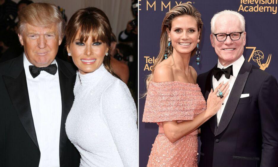 IKKE INVITERT: Donald Trump og Tim Gunn er trolig ikke på gjestelista til årets Met-galla. Her avbildet med henholdsvis Melania Trump og Heidi Klum. Foto: NTB Scanpix