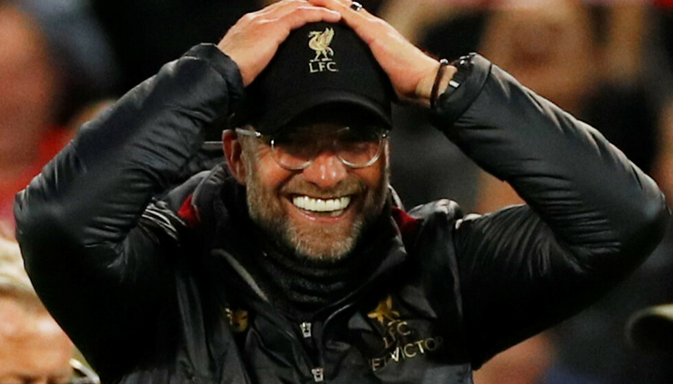 DEN STØRSTE TRIUMFEN: Han tror det nesten ikke selv, men det er hans verk. Liverpool 2019 er Jürgen Klopps mesterverk. Og derfor er Liverpool i Champions League-finalen. Det kunne ikke vært mer fortjent. Foto: REUTERS/Phil Noble