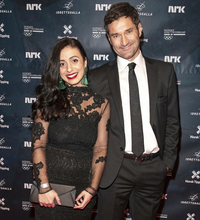 FORELDRE: Hadia Tajik og forloveden Kristian Skard under Idrettsgallaen i 2019. Foto: Andreas Fadum/Se og Hør