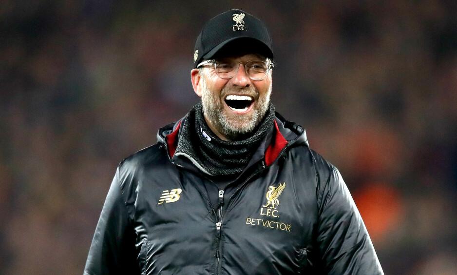 KLOPP I HUNDRE: Liverpool-manager Jürgen Klopp var et eneste stort smil etter 4-0-seieren over Barcelona. Foto: NTB scanpix