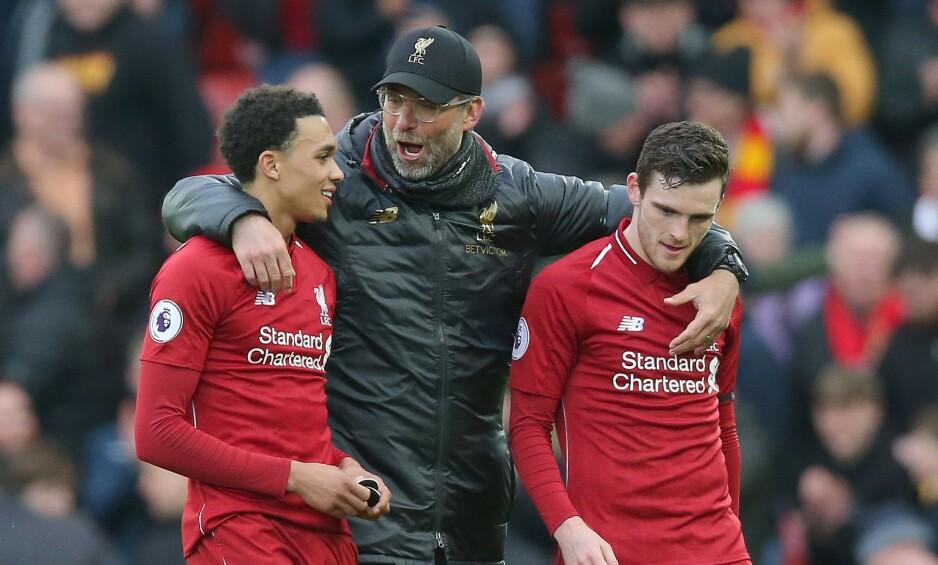 GULLDUO: Jürgen Klopp har mye å takke sidebackene Trent Alexander Arnhold og Andy Robertson for denne sesongen. Foto: NTB Scanpix