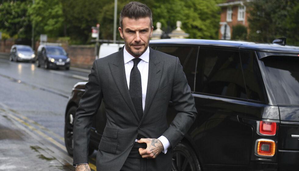 MISTER LAPPEN: David Beckham avbildet på vei til høringen i Bromley Magistrates Court i dag. Foto: Victoria Jones/PA via AP