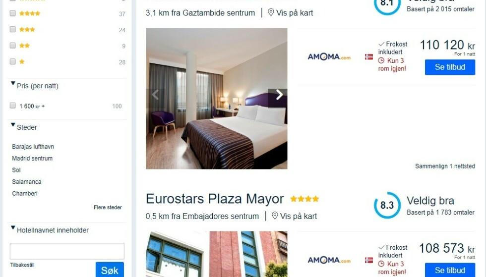 KOSTER SKJORTA: Det billigste rommet på Finn.no koster nesten 5000 kroner natta. De dyreste koster over 100 000 kroner. Foto: Finn.no