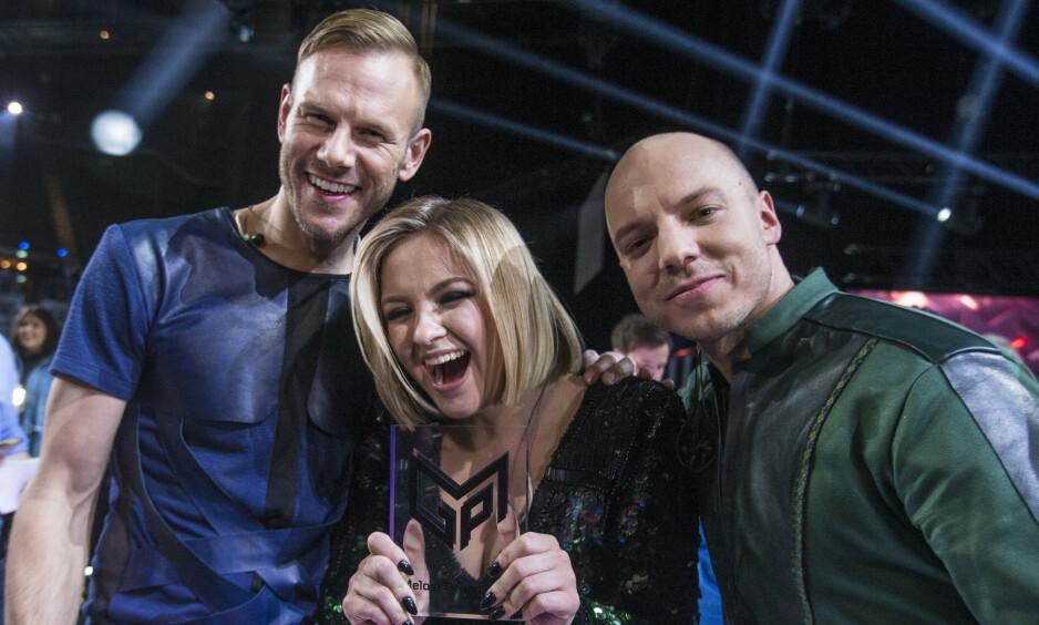EUROVISION-KLARE: KEiiNO skal representere Norge under Eurovision i Tel Aviv 18. mai. Her er trioen avbildet da de vant MGP-finalen i Oslo Spektrum 2. mars. Foto: NTB Scanpix