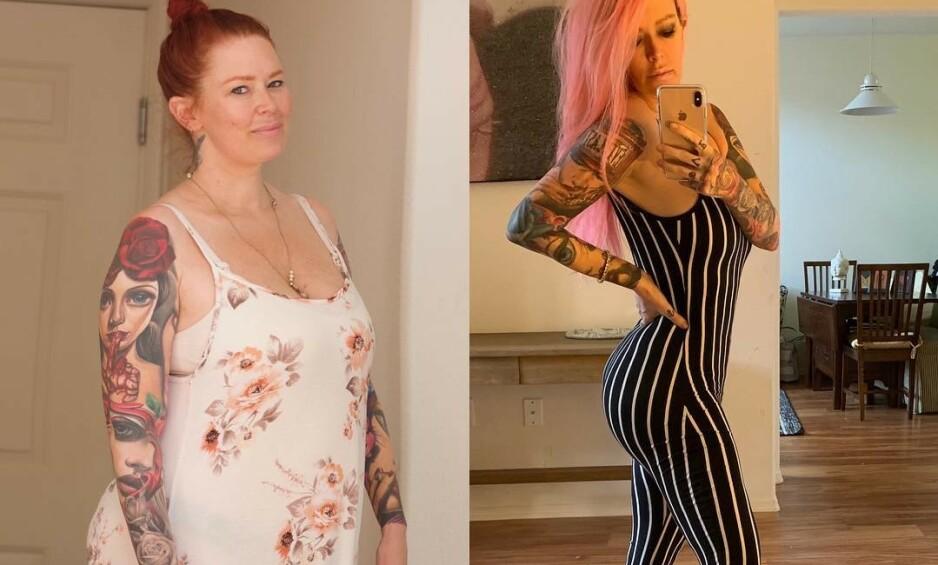 FØR OG ETTER: Til venstre veide Jenna Jameson rundt 45 kilo mer enn på bildet til høyre. Foto: Privat