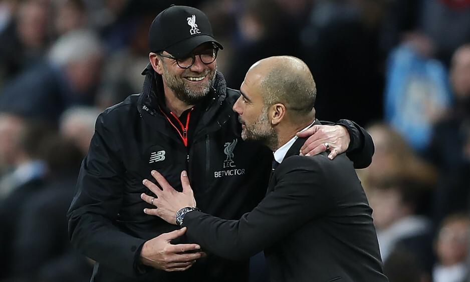 STJERNETRENERE: Jurgen Klopp og Pep Guardiola er to av fotballs største manager-profiler. Foto: NTB Scanpix