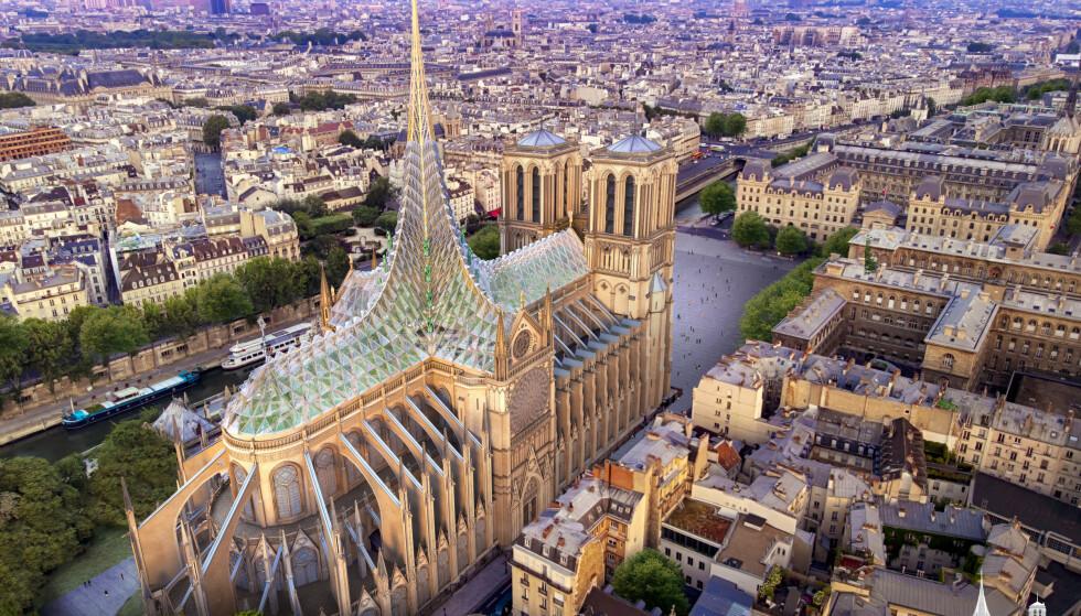 MILJØVENNLIG TAK: Debatten raser om hvordan Notre-Dame skal gjenoppbygges. Et forslag satser på glasstak, solceller og grønnsaksdyrking. Illustrasjon: Vincent Callebaut Architectures