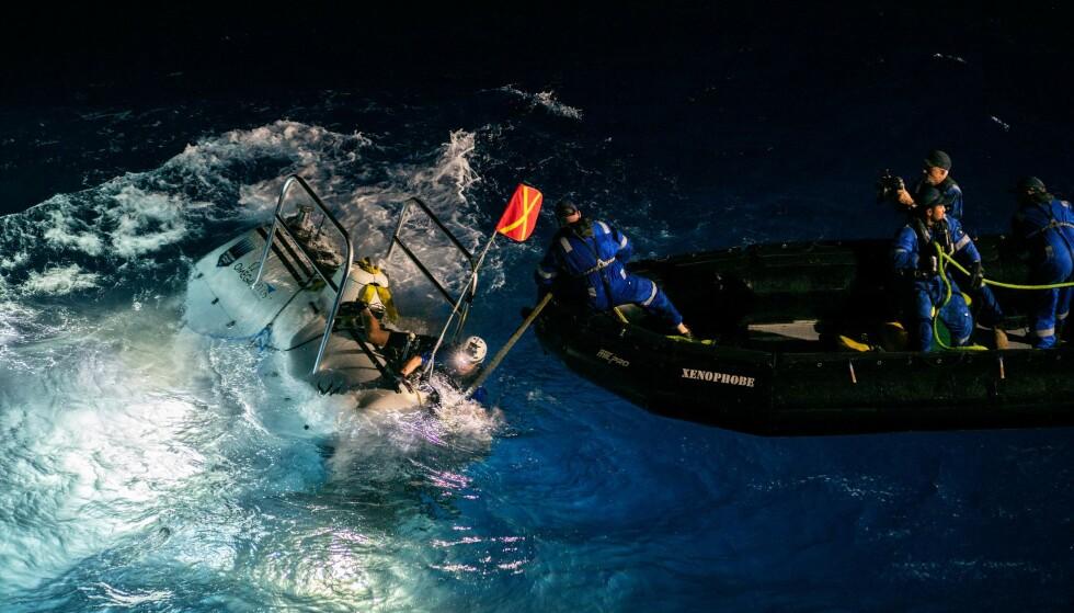 CHALLENGERDYPET: Ubåten avbildet etter det første dykket ned til det dypeste punktet i Challengerdypet i Stillehavet. Foto: Five Deeps Expedition